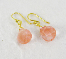 Gold Plated Sterling Silver Teardrop Stone Drop Earrings, Cherry Quartz