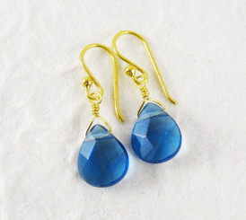 Gold Plated Sterling Silver Crystal Teardrop Drop Earrings, Midnight Blue