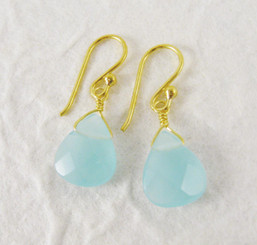 Gold Plated Sterling Silver Crystal Teardrop Drop Earrings, Ocean Blue