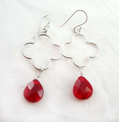 Sterling Silver Clover Charm Teardrop Stone Drop Earrings, Red