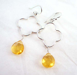 Sterling Silver Clover Charm Teardrop Stone Drop Earrings, Yellow