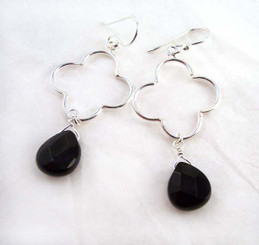 Sterling Silver Clover Charm Teardrop Stone Drop Earrings, Black