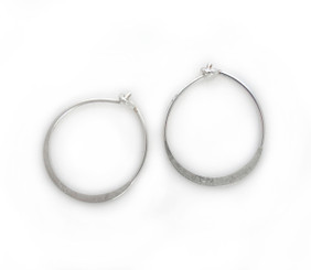 Sterling Silver Flat Hoop Earrings, 16mm