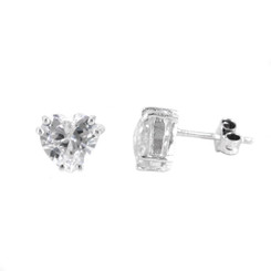 Heart Cubic Zirconia Stones Sterling Silver Stud Post Earrings