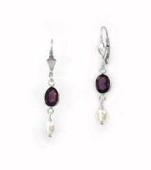 Sterling Silver Oval Crystal and Cultured Pearl Leverback Drop Earrings, Purple