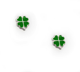 Sterling Silver Enamel Four Hearts Clover Stud Post Earrings, Green