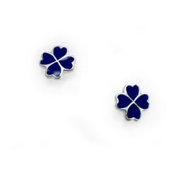 Sterling Silver Enamel Four Hearts Clover Stud Post Earrings, Navy