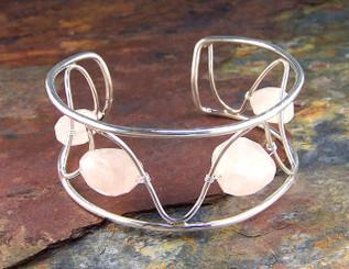 Sterling Silver Rose Quartz Nugget Cuff Bracelet