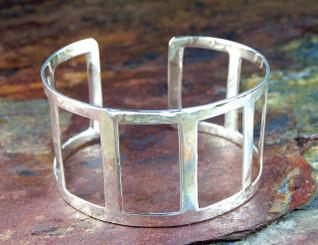 Sterling Silver Rectangle Cutout Cuff Bracelet