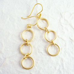Gold Plated Sterling Silver Three Circle Link Dangle Earrings, Matte Gold