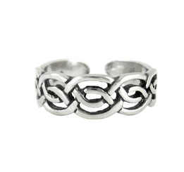 Sterling Silver Celtic Knot Open Band Adjustable Toe Ring