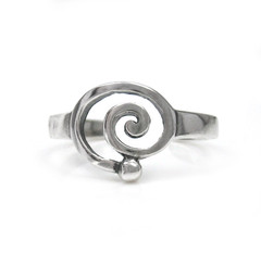 Sterling Silver Swirl Circle Spiral Adjustable Toe Ring