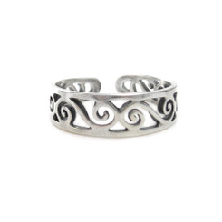 Sterling Silver S-Swirl Cutout Band Adjustable Toe Ring