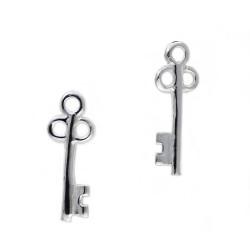 Sterling Silver Old Fashioned Key Stud Post Earrings