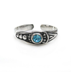 Sterling Silver Crystal Center Ornate Tapered Band Adjustable Toe Ring, Aqua