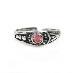Sterling Silver Crystal Center Ornate Tapered Band Adjustable Toe Ring, Pink
