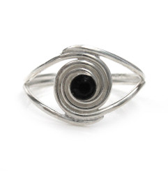 Sterling Silver Crystal Spiral Adjustable Toe Ring, Black