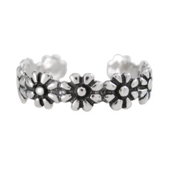 Sterling Silver Daisy Band Adjustable Toe Ring