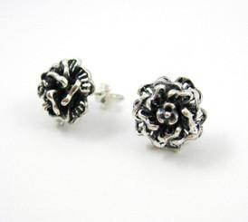 Sterling Silver Filigree Rose Post Earrings