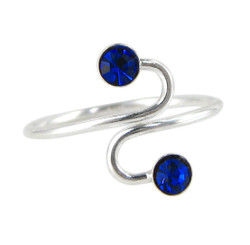 Sterling Silver Crystal Swirl Adjustable At Front Toe Ring, Blue