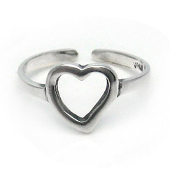 Sterling Silver Sweet Open Heart Adjustable Toe Ring