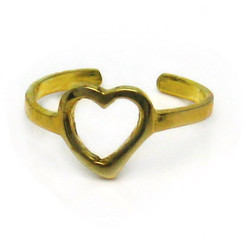 Gold Plated Sterling Silver Sweet Open Heart Adjustable Toe Ring