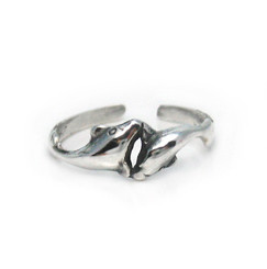 Sterling Silver Two Playful Dolphins Adjustable Toe Ring
