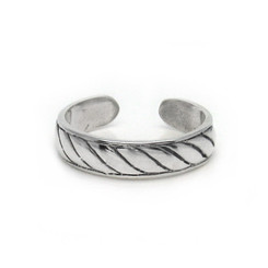 Sterling Silver Twist Rope Band Adjustable Toe Ring
