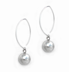 """Sterling Silver Balls on Elliptical Hooks """"Jayden"""" Earrings"""