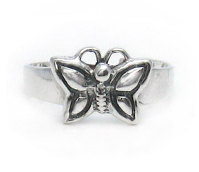 Sterling Silver Flying Butterfly Adjustable Toe Ring