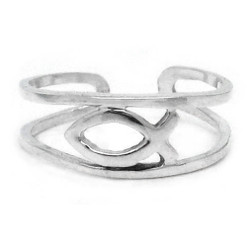 Sterling Silver Ichthys Fish Open Band Adjustable Toe Ring