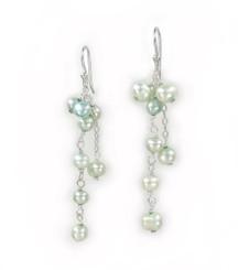 Sterling Silver Cultured Pearl Cluster Link Drop Earrings, Baby Blue