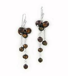 Sterling Silver Cultured Pearl Cluster Link Drop Earrings, Brown