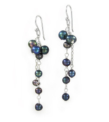 Sterling Silver Cultured Pearl Cluster Link Drop Earrings, Peacock