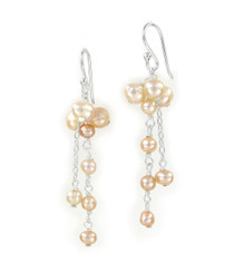 Sterling Silver Cultured Pearl Cluster Link Drop Earrings, Pink