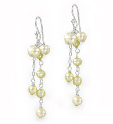 Sterling Silver Cultured Pearl Cluster Link Drop Earrings, Yellow