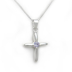 Sterling Silver Solitaire Crystal Cross Pendant Necklace, June Lavender