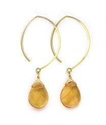 Gold Plated Sterling Silver Teardrop Crystals on Modern Elliptical Hook Earring, Yellow
