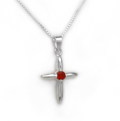 Sterling Silver Solitaire Crystal Cross Pendant Necklace, July Red