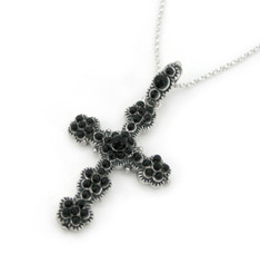 Sterling Silver Bead Encrusted Decorated Cross Pendant Necklace, Black