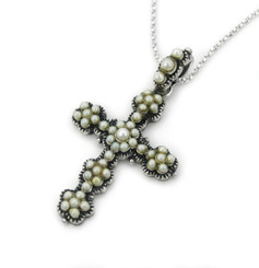 Sterling Silver Pearlized Bead Encrusted Decorated Cross Pendant Necklace, White