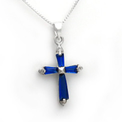 Sterling Silver Sparkling Stone Cross Pendant Necklace, September Blue