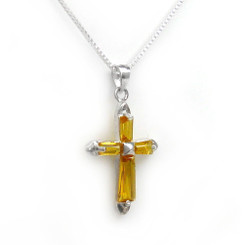 Sterling Silver Sparkling Stone Cross Pendant Necklace, November Yellow