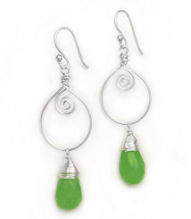 Sterling Silver Wire Work Teardrop Charm Stone Drop Earrings, Sea Green
