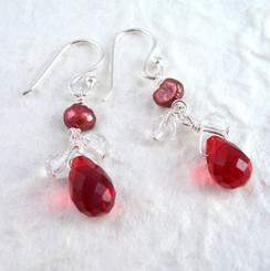 Sterling Silver Suzie Teardrop Cultured Pearl Beads Drop Earrings, Red