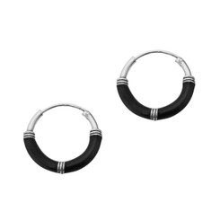 Sterling Silver Bali Coil Design Color Coated 14mm Hoop Earrings, Black