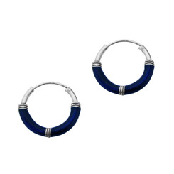 Sterling Silver Bali Coil Design Color Coated 14mm Hoop Earrings, Navy