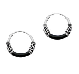 Sterling Silver Bali Design Color Coated 14mm Hoop Earrings, Black