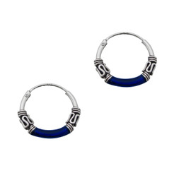 Sterling Silver Bali Design Color Coated 14mm Hoop Earrings, Navy