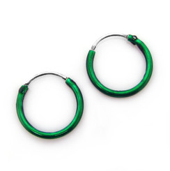 Sterling Silver Color Coated 12mm Hoop Earrings, Green